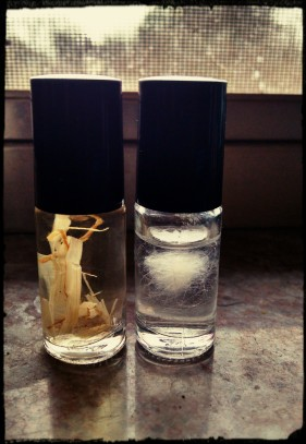 Homemade vials for Timothy hay, and my rabbit's dander